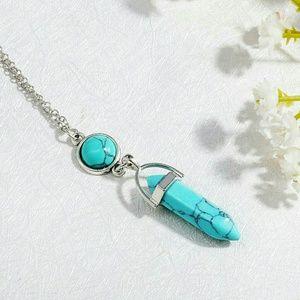 Turquoise Stone Bullet Shape Silvertone Necklace